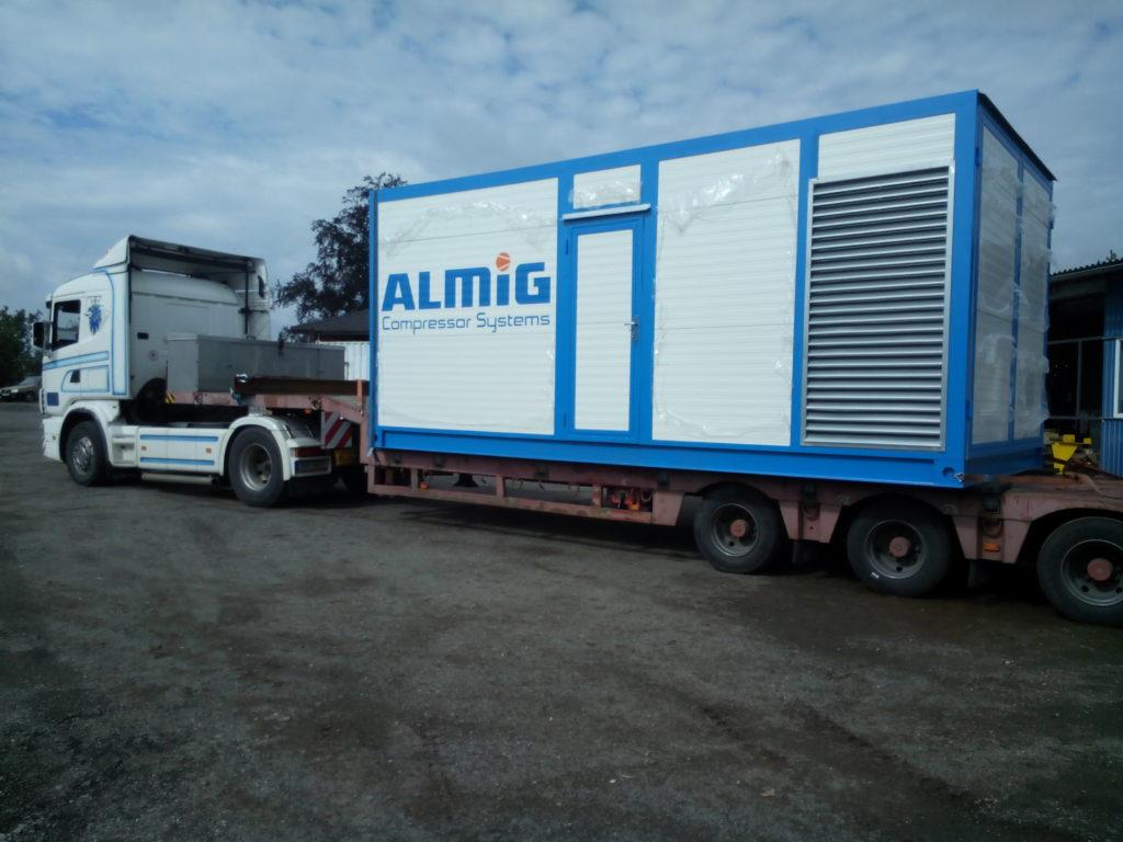 Přeprava vyrobeného kontejneru na kompresory k odběrateli.