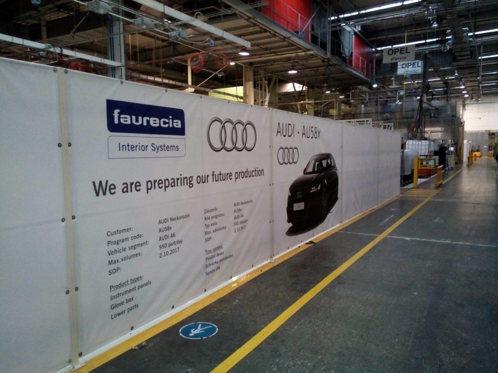 Příprava prostorů pro nastěhování nové výrobní linky Audi A6 - Faurecia Plazy.